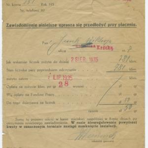 Rachunek z gazowni miejskiej w Kępnie