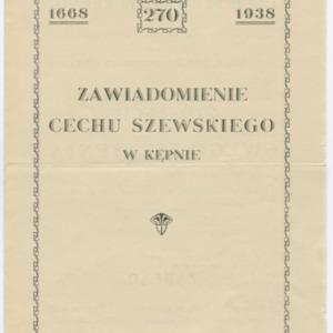 Zawiadomienie o obchodach 270-lecia istnienia cechu szewskiego w Kępnie